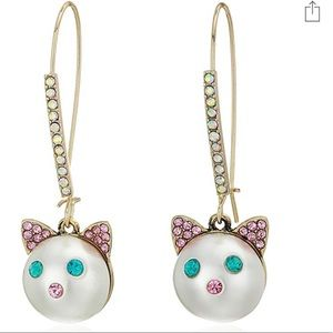 Betsey Johnson Crystals faux pearl cat earrings